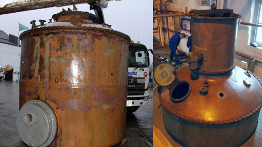 two views of an the old worn copper lomond pot