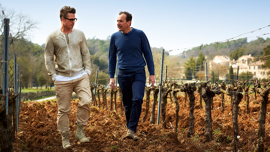 actor Brad Pitt and winemaker Marc Perrin walking through a vineyard with no foliage